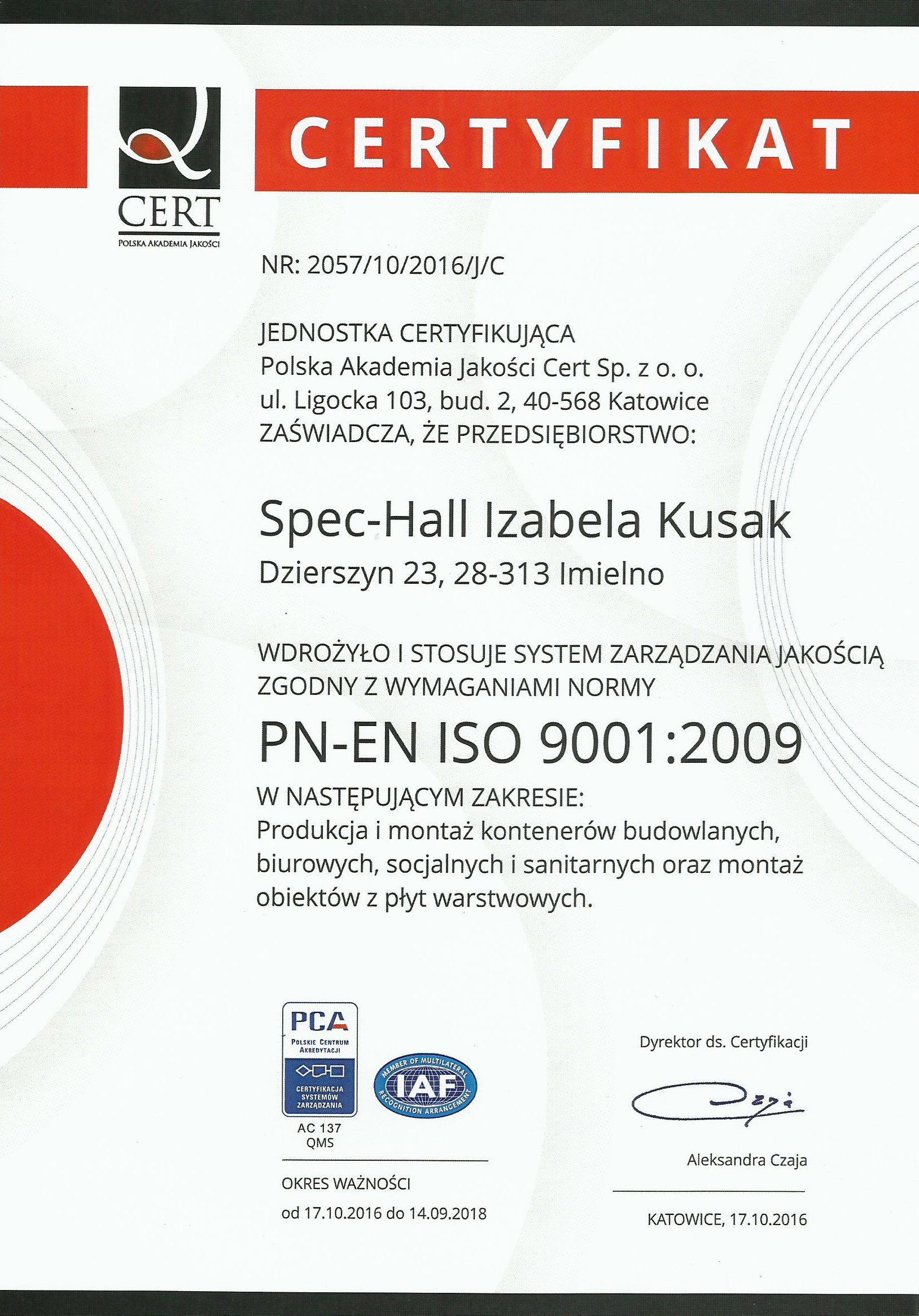 Certyfikat Izabela Kusak