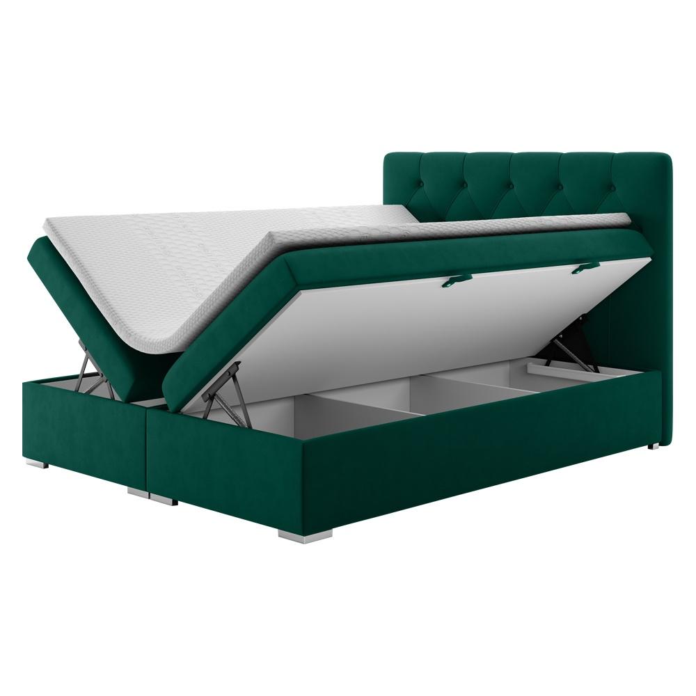 Boxspringbett LUBEKKA grün mit wasserabweisendem Bezug, Rautensteppung und Knopfheftung