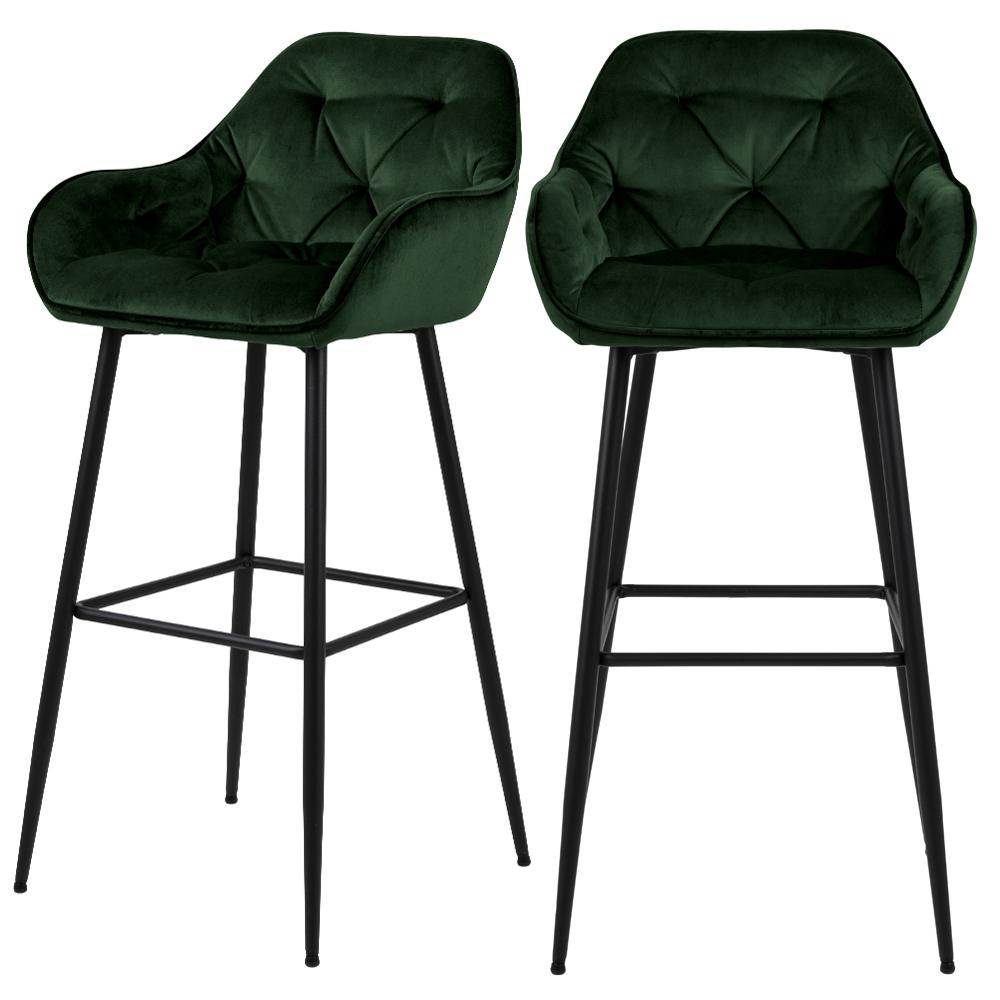 Barhocker AGAMOS 2-er Set grün mit Armlehnen, Veloursbezug und schwarzen Beinen