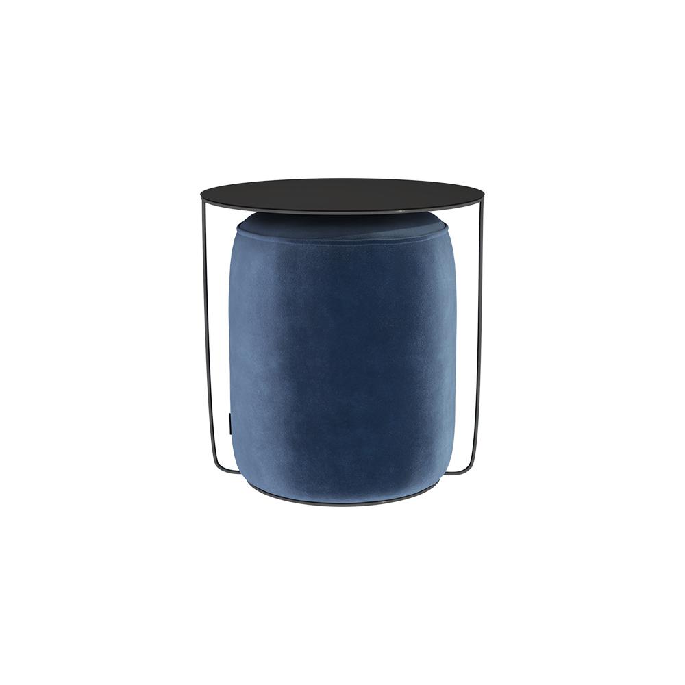 Beistelltisch GAZURE mit dunkelblauem Pouf