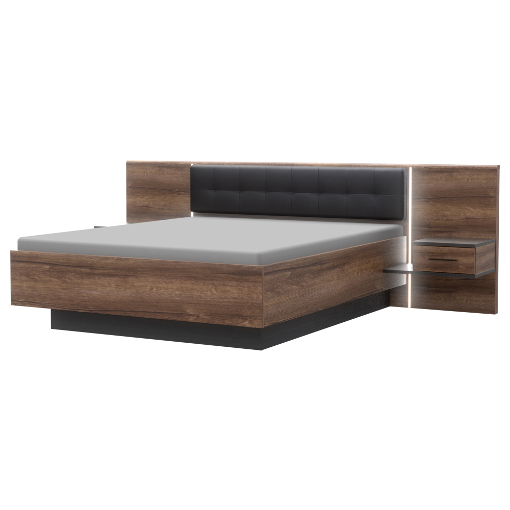 Bett BELLEVUE mit 2 Nachttischen 180x200 cm
