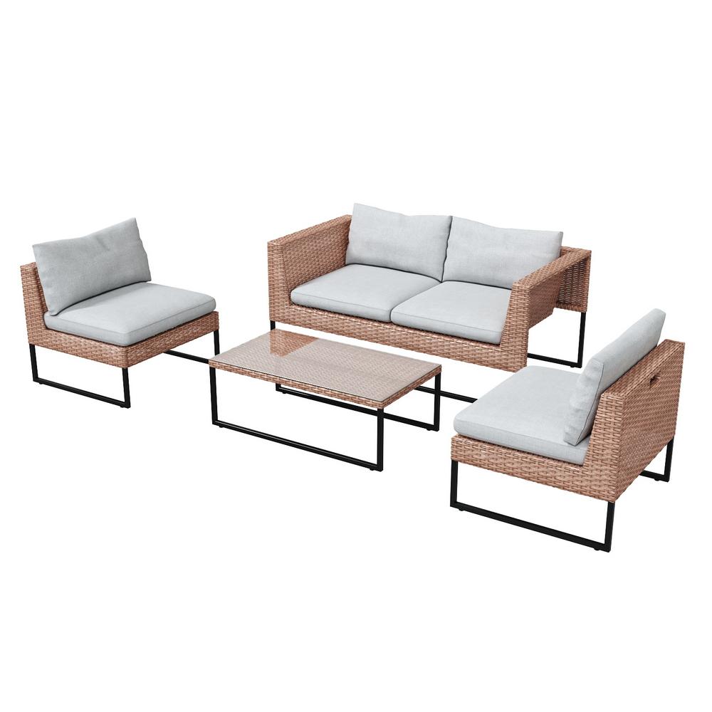 Gartenmöbel-Set DARKONE Couchtisch, Sofa und 2 Sessel