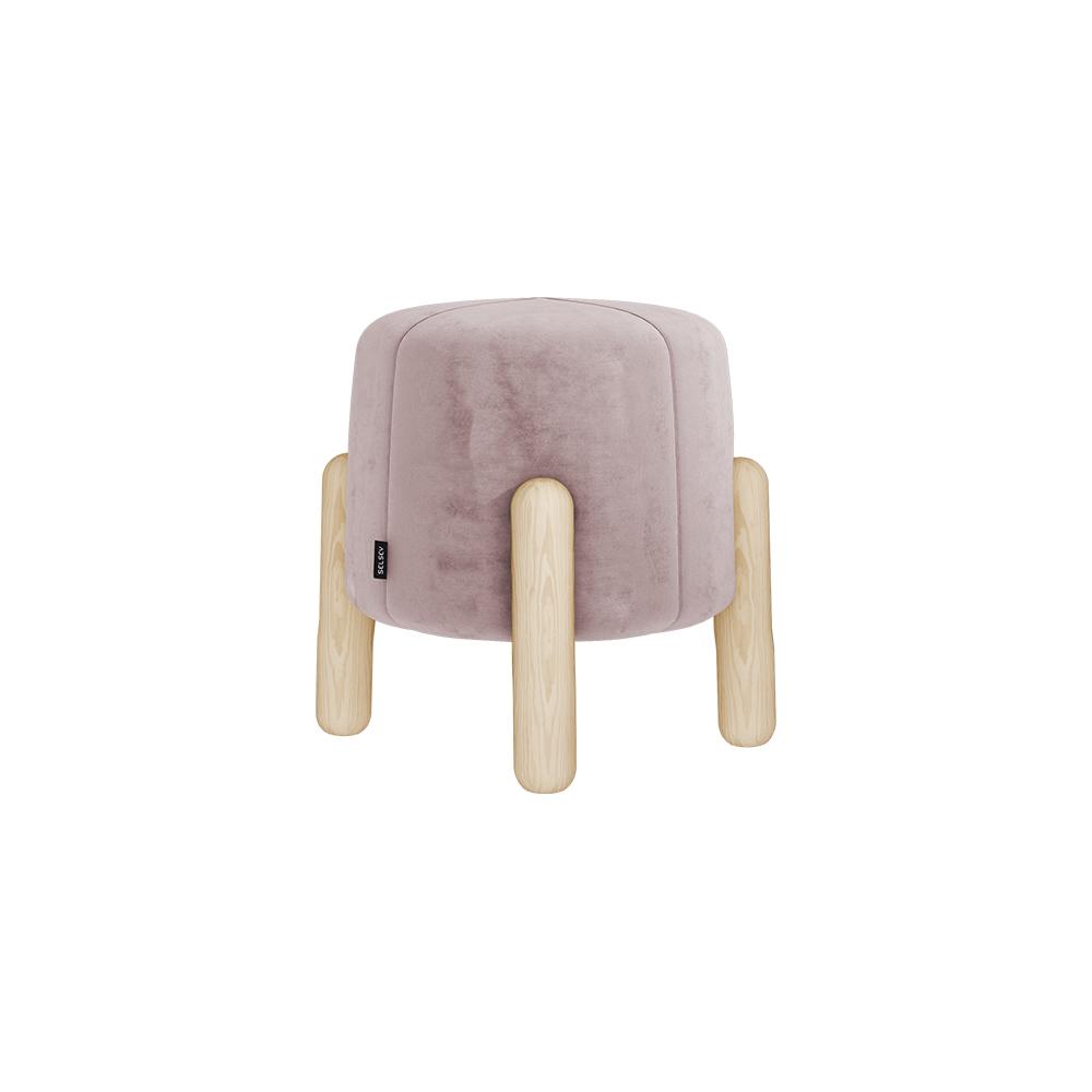 Hocker LEVINE rosa mit Holzfüßen