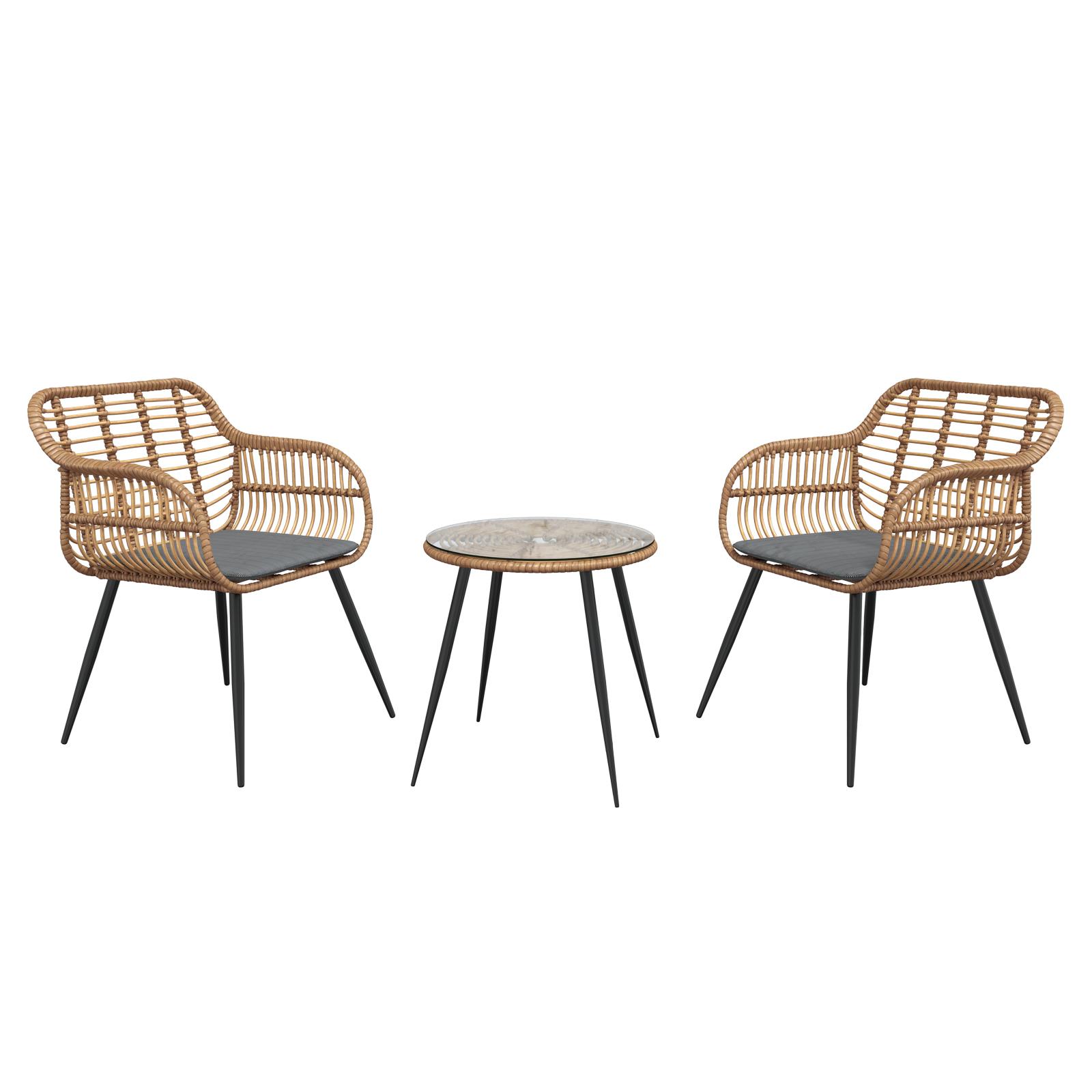 Gartenmöbel-Set HALDIR Tisch und 2 Stühle
