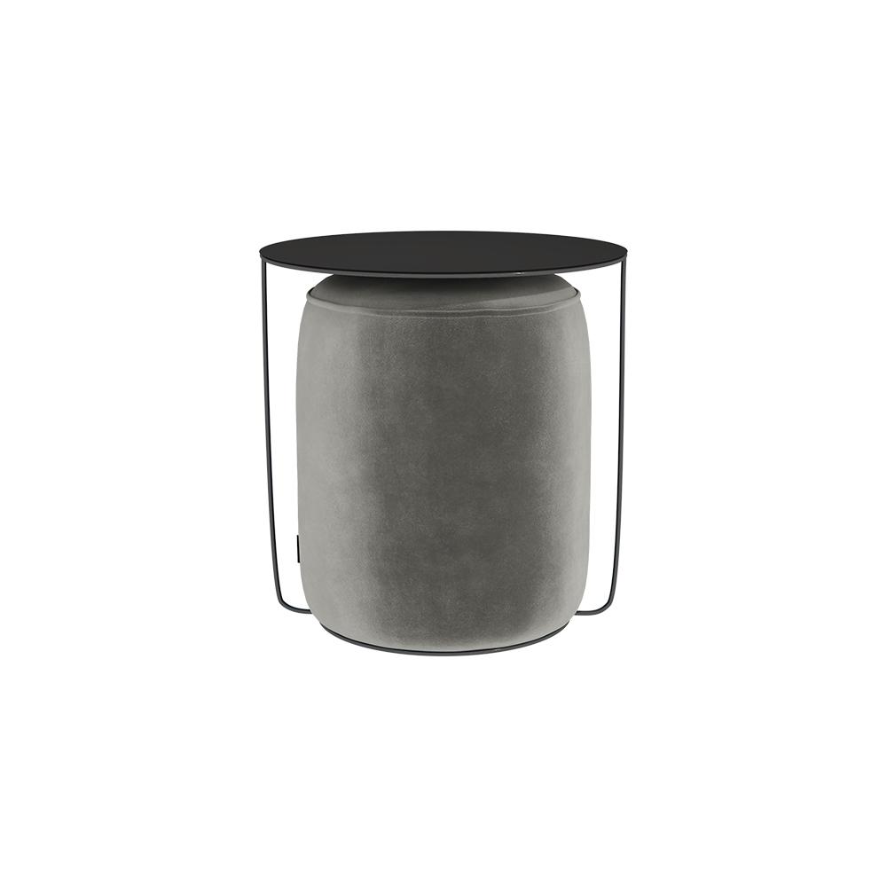 Beistelltisch GAZURE mit grauem Pouf