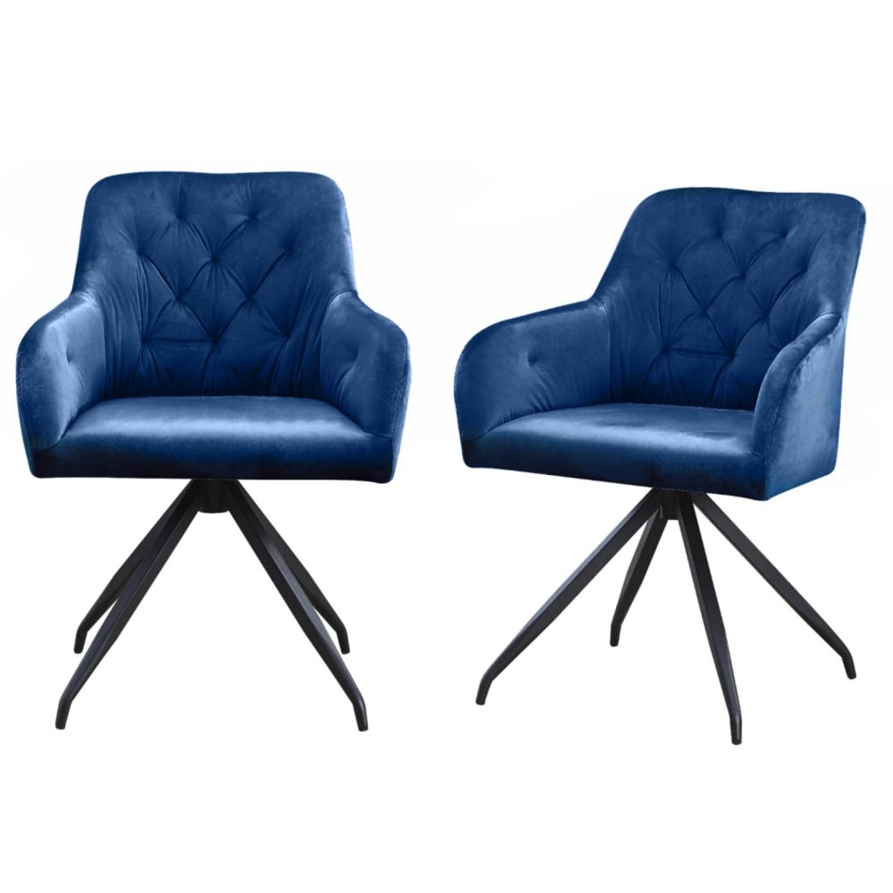 Polsterstuhl IKELA 2er-Set dunkelblau mit Armlehnen und Steppung