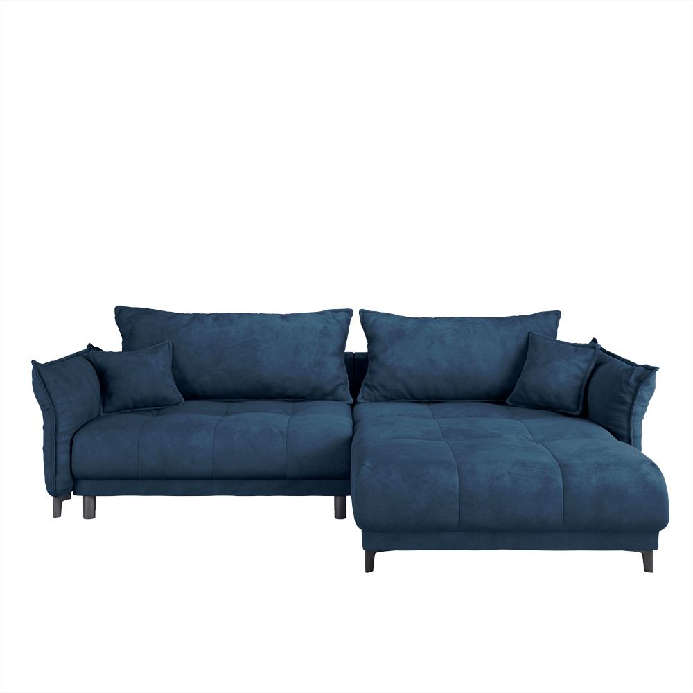Ecksofa ACRAB dunkelblau mit Schlaffunktion und wasserabweisendem Veloursbezug