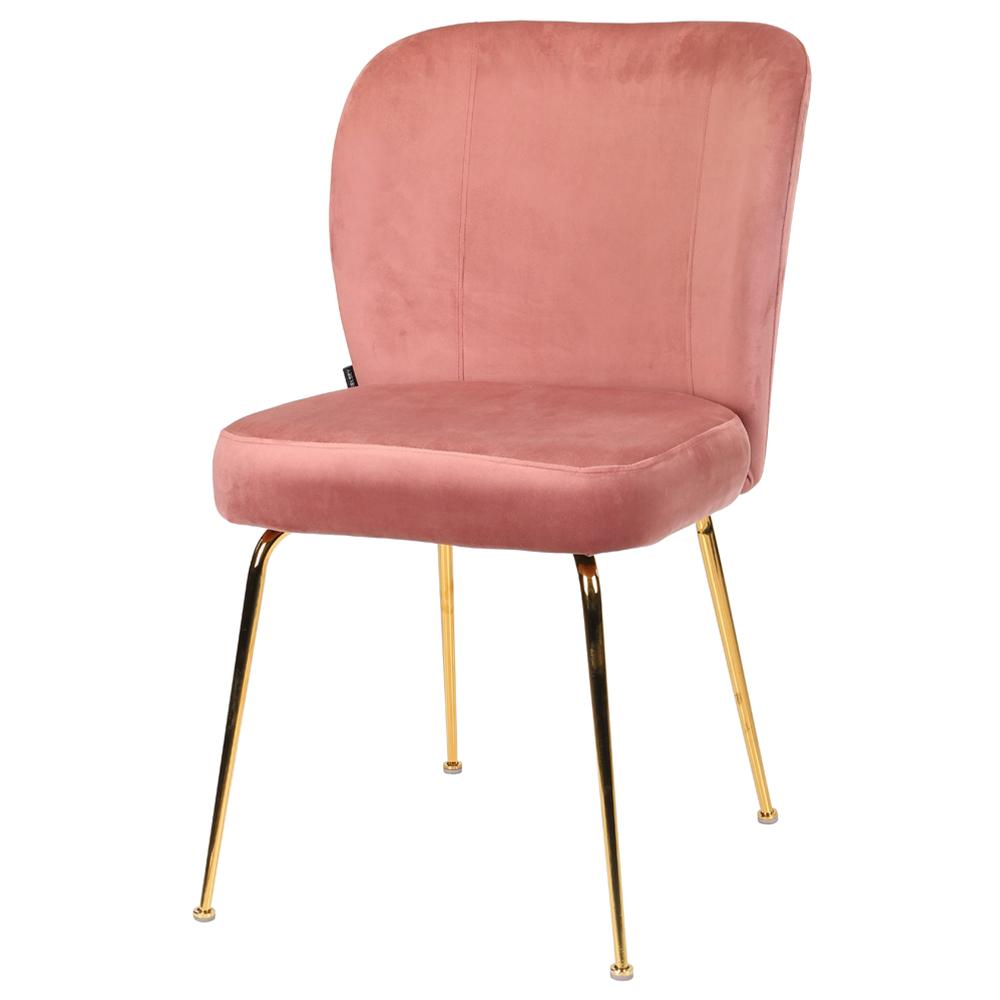 Polsterstuhl ALRUBA rosa mit goldenen Metallbeinen