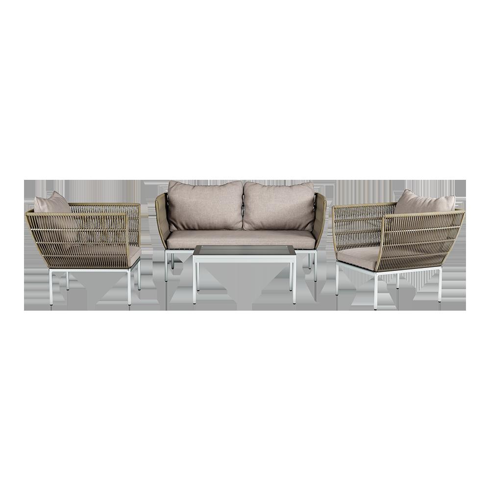 Gartenmöbel-Set SANSUNA Couchtisch, Sofa und 2 Sessel