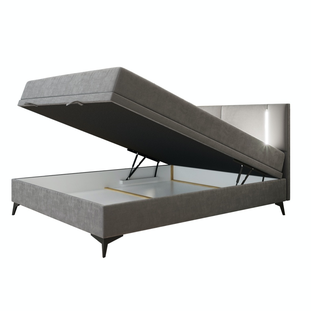 Boxspringbett EVANGELINA mit Bettkasten und LED