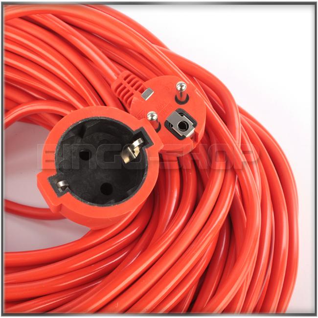 verl ngerungskabel 50 m stromkabel kabel orange stecker garten baustellen v 8 ebay. Black Bedroom Furniture Sets. Home Design Ideas