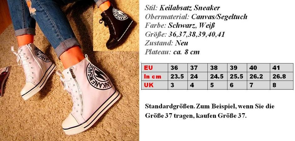 damen schuhe keilabsatz sneaker wedge boots plateau. Black Bedroom Furniture Sets. Home Design Ideas