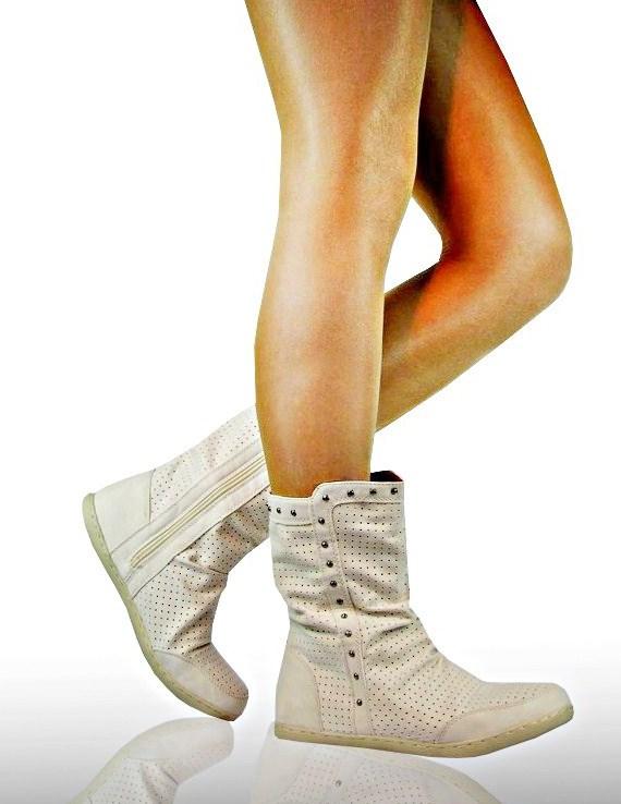 sommer damen stiefeletten biker flach ankle boots beige. Black Bedroom Furniture Sets. Home Design Ideas