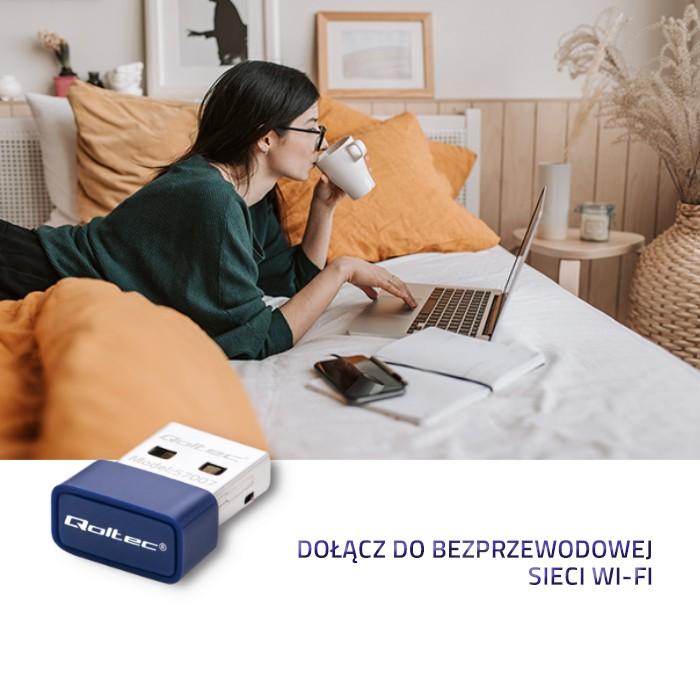 Qoltec Bezprzewodowy mini adapter WiFi Standard N   BT 4.0 USB (5)