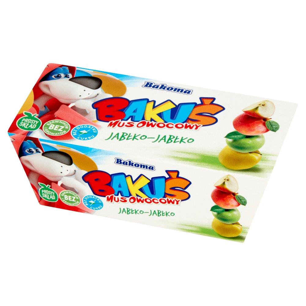 Bakoma Bakuś Mus owocowy jabłko-jabłko 200g (2szt)