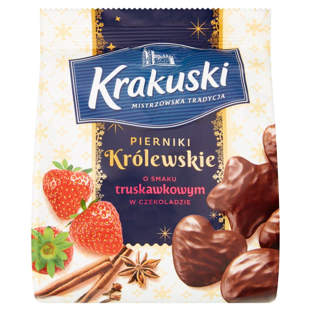 Krakuski Pierniki Królewskie o smaku truskawkowym w czekoladzie 150g