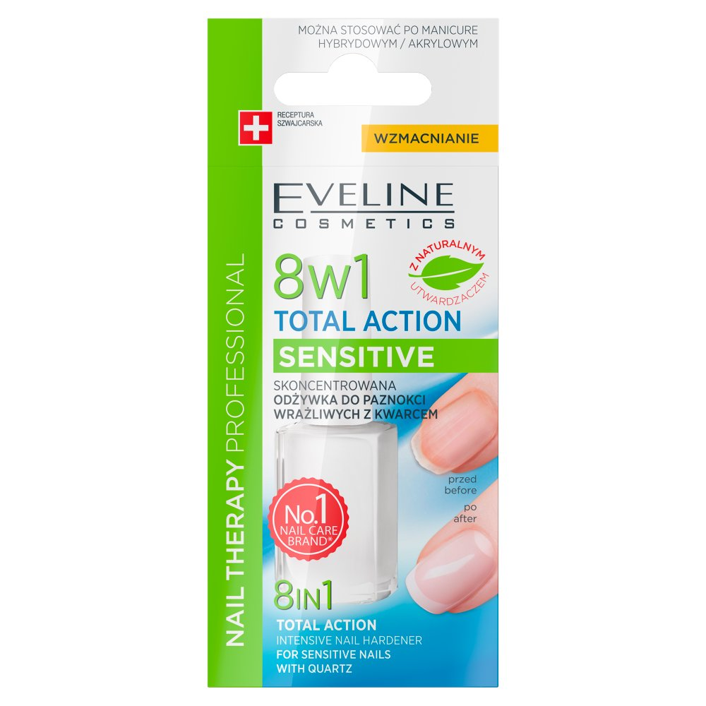 Eveline Nail Therapy Professional Odżywka do poaznokci 8w1 Total Action Sensitive 12ml (2)