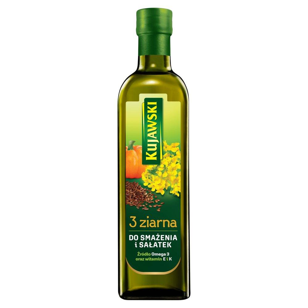 Kujawski 3 ziarna Olej rzepakowy z olejami z lnu i pestek dyni 750ml (2)