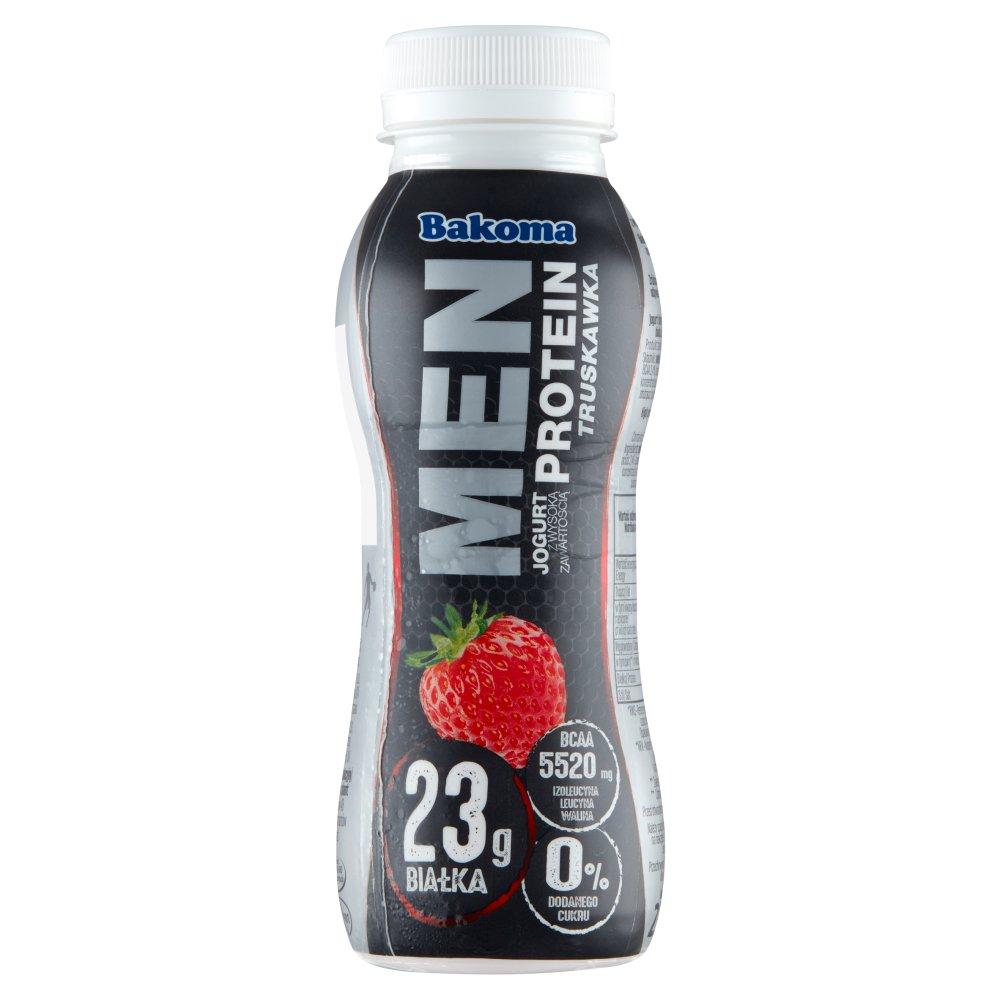 Bakoma Men Pro Jogurt truskawkowy z wysoką zawartością białka 230g