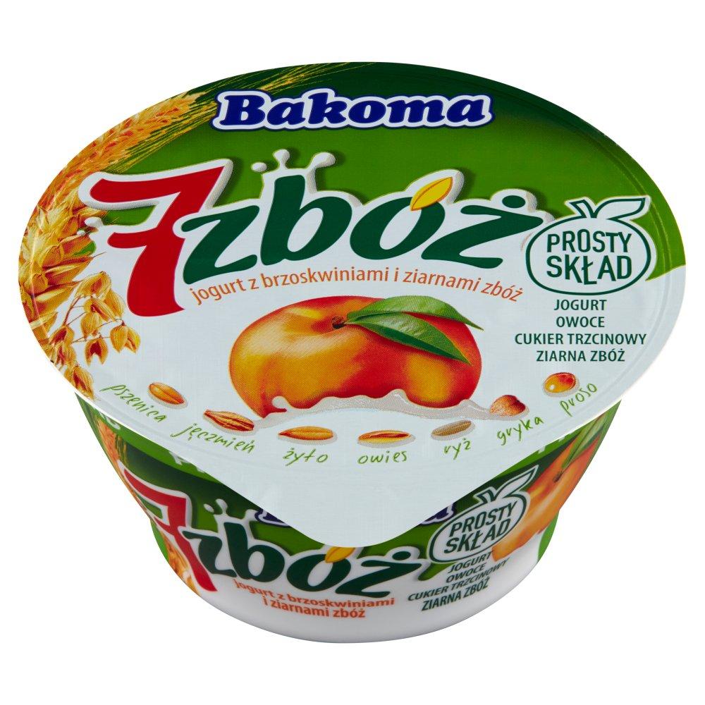 Bakoma 7 zbóż Jogurt z brzoskwiniami i ziarnami zbóż 140g