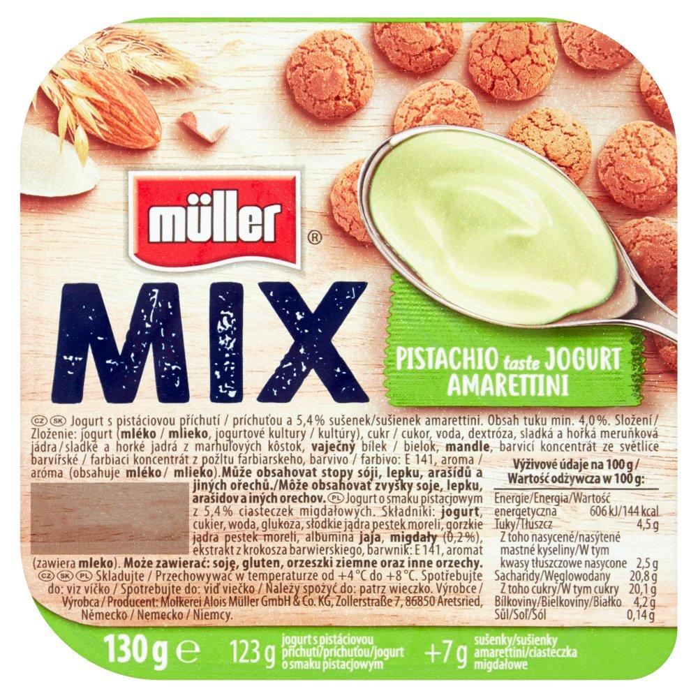 Müller Mix Jogurt o smaku pistacjowym z ciasteczkami migdałowymi 130g (2)