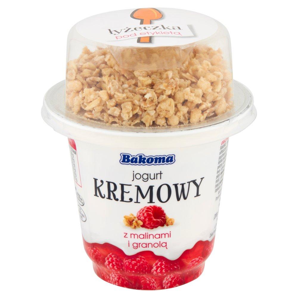 Bakoma Jogurt kremowy z malinami i granolą 230g