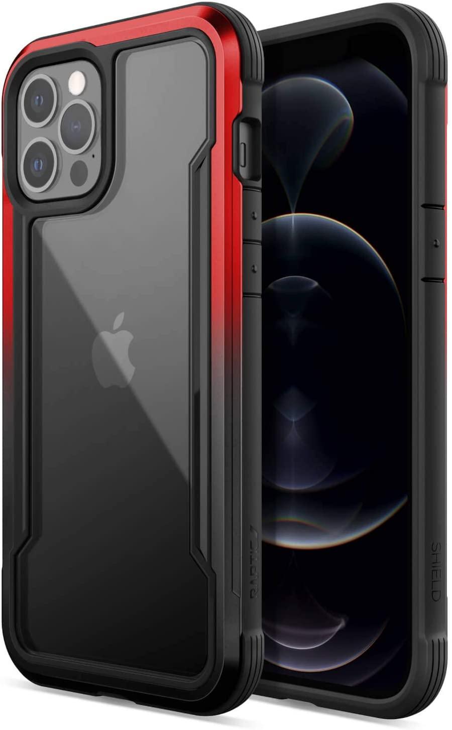 Raptic Shield Etui Aluminiowe do iPhone 12 Pro Max (Drop Test 3m) (Black & Red Gradient)