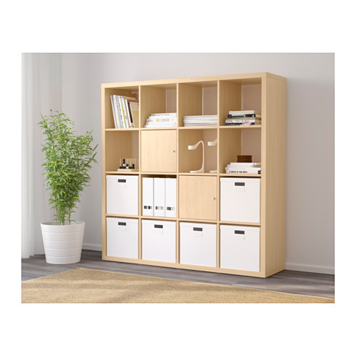 ikea kallax 16 4x4 shelf shelving unit bookcase storage in birch effect ebay