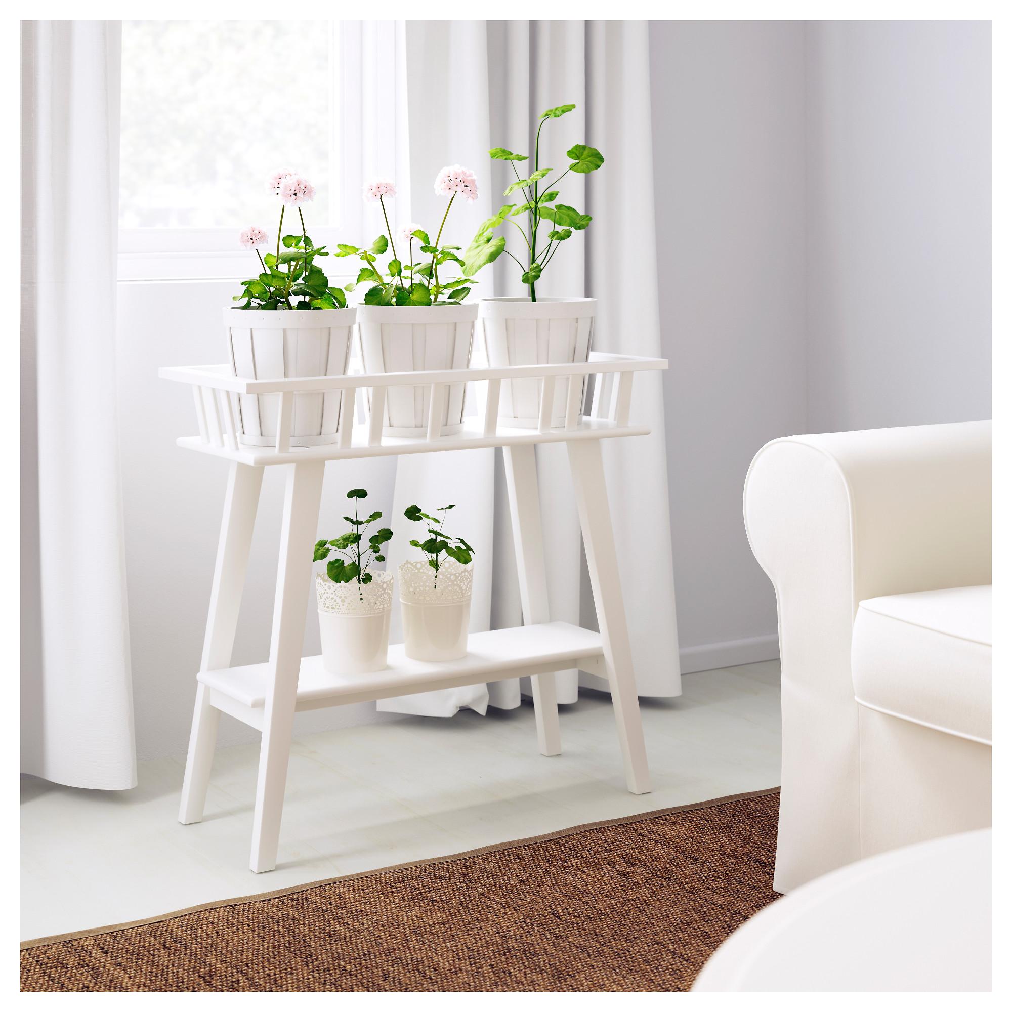 Ikea Lantliv Plant Stand White Garden Corner Rack Indoor Shelves New Ebay