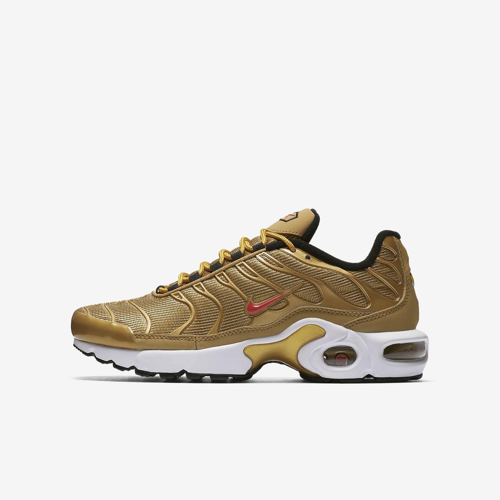 cb1e36d2eb Details about Nike AIR MAX PLUS TN SE AR0259-700 METALLIC GOLD BLACK  VARSITY RED 97