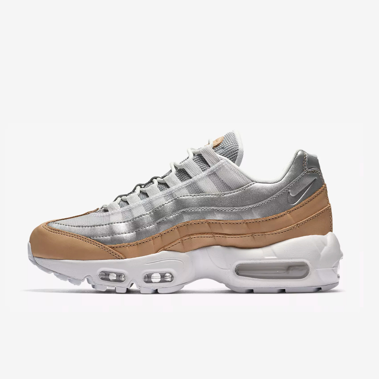 first rate 424ad 27d3b Details about NIKE WMNS AIR MAX 95 SE AH8697-002 PURE PLATINUM WHITE BIO  BEIGE METALLIC SILVER