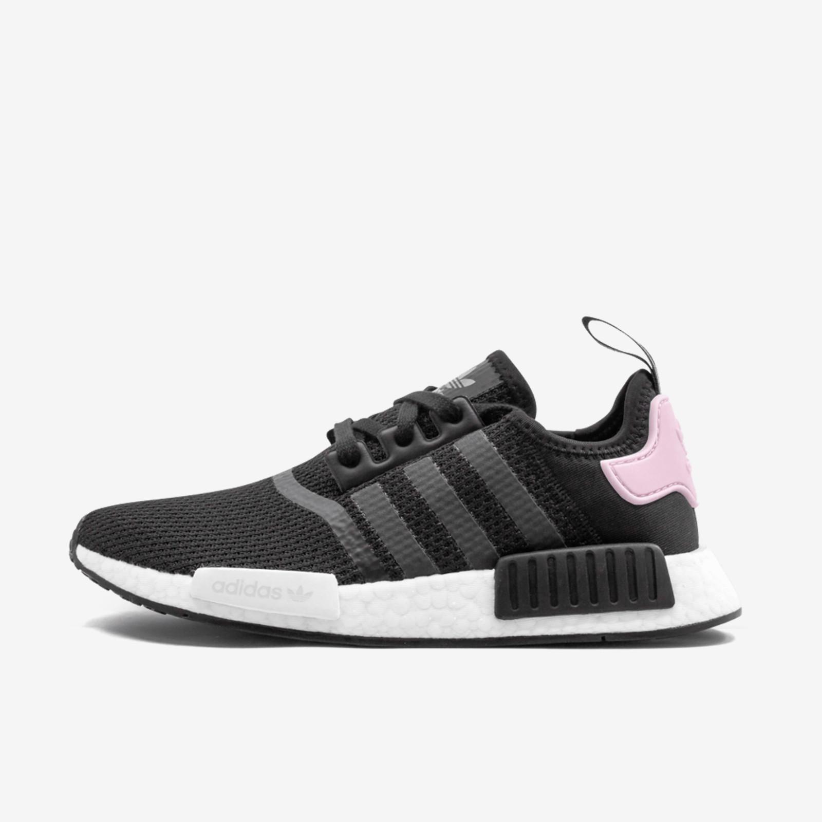 shoes, adidas nmd, adidas, adidas shoes, black, pink, white