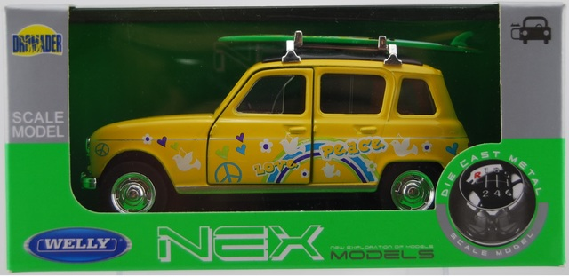 WELLY RENAULT 4 YELLOW 1:34 DIE CAST METAL MODEL NEW IN BOX