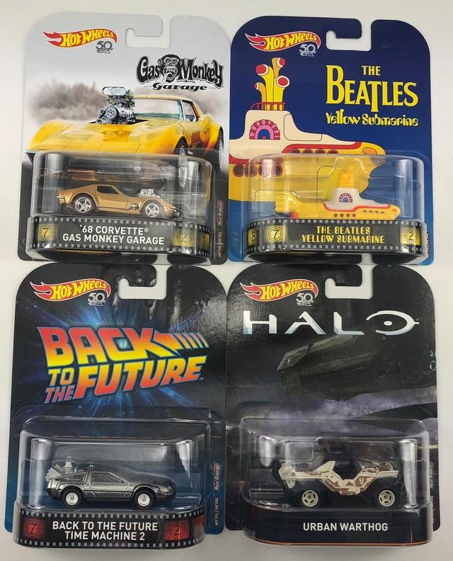 DeLorean,Beatles,Urb Retro Entertainm -  4 er Set Gas Monkey Hot Wheels 1:64