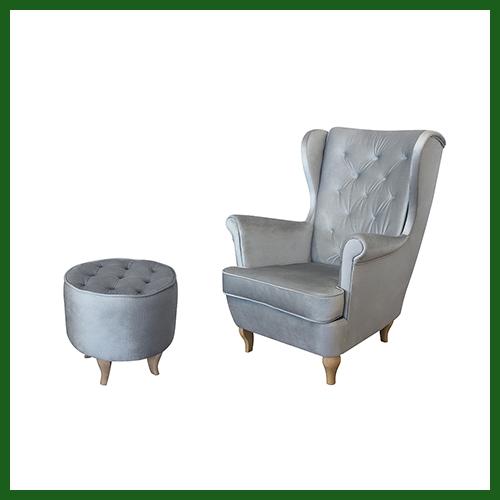 Fotel Uszak Velvet pikowany szary srebrny + Pufa Podnóżek – WYBÓR KOLORU NÓŻEK – ZESTAW – PROMOCJA – DARMOWA DOSTAWA