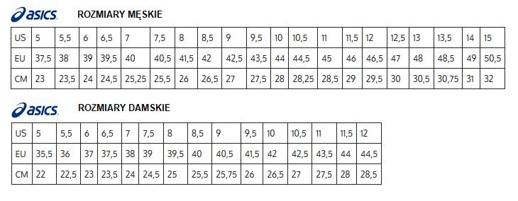 Tabela rozmiarów ASICS