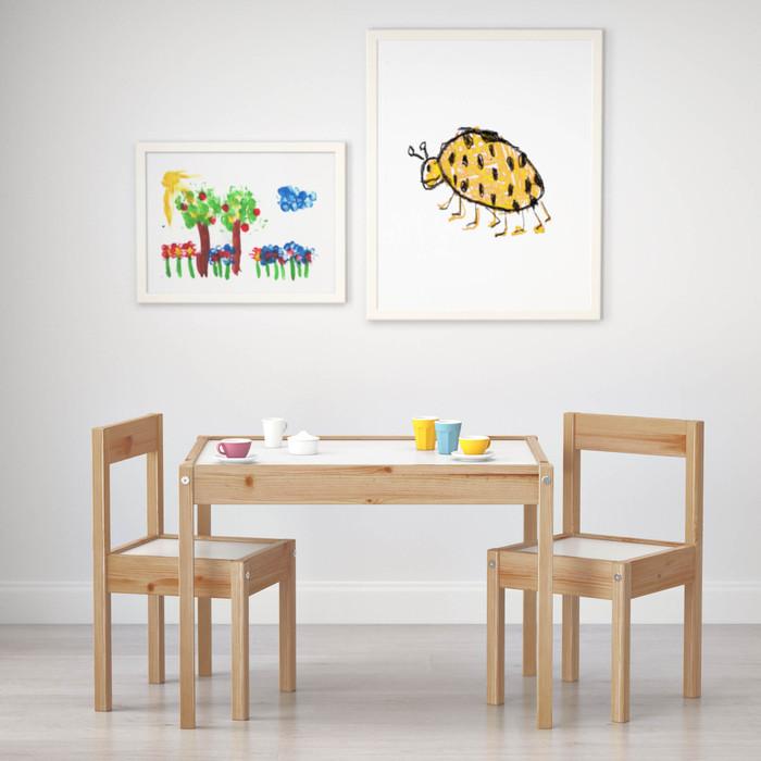 ikea l tt kindertisch mit 2 kinderst hle kinderm bel kindersitzgruppe ik48 ebay. Black Bedroom Furniture Sets. Home Design Ideas