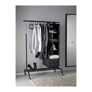 ikea rigga garderobenst nder rollst nder kleiderst nder wei schwarz ebay. Black Bedroom Furniture Sets. Home Design Ideas