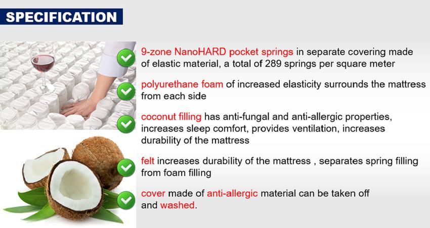 MATTRESS 190 200 coconut 7 ZONES pocket spring H3 EV1FTUK 22CM! comfort*